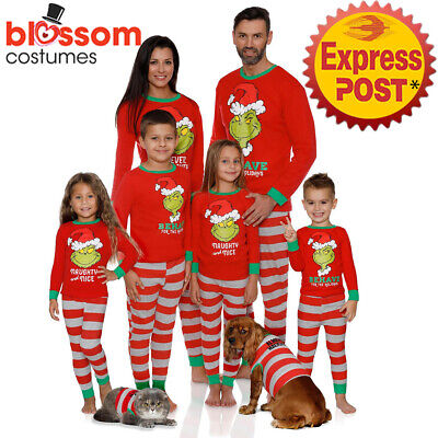 K958 Grinch Kids Adult Family Matching Christmas Sleepwear Nightwear Pyjamas