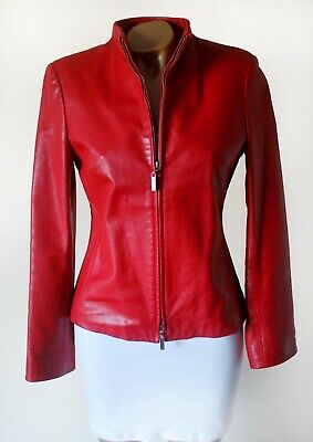 Leather Jacket 10 Episode Womens Bright Red Super Soft Genuine Leather Lined