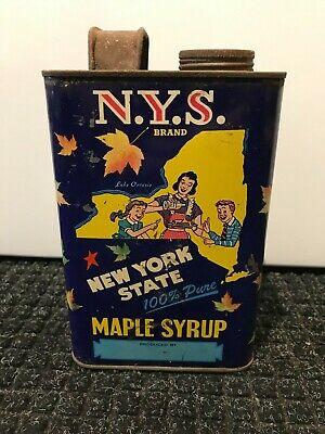 Vintage Rare Maple Syrup New York NYS Cornell Advertising Can Collectible (875)