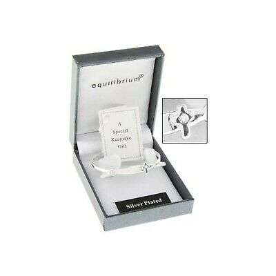 Equilibrium Silver Plated Christening Bangle with a cross