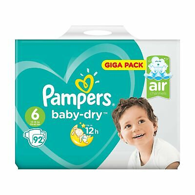 Pampers Baby Dry Giga Pack, Size 6 , 92 Nappies