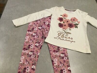 Girls Floral Top & Leggings Outfit Size 7-8 years VGC