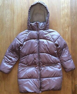 Girls Next Pink Fur Lined Padded Winter Coat Age 7 Years ** Really Warm **