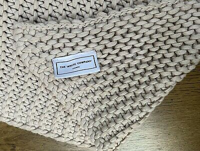 White Company Large Knitted Cotton Throw, Cream