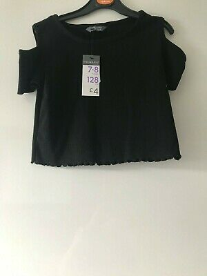 Girls Age 7-8 Years Primark Black Ribbed Effect Cropped Cold Shoulder Top Nwt