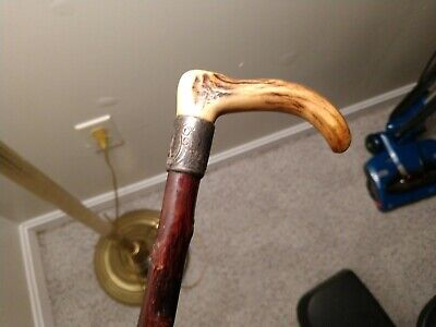 AMAZING BONE/HORN Cane From LATE 1800's ORIGINAL SHAFT SILVER!!