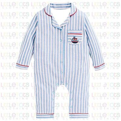 ex UK Chainstore Brand Baby Boys Striped Boat Applique All In One Pyjamas 0-3yrs