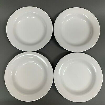 Crate & Barrel Rimmed Bowls Pasta Soup Cereal All White 9 x 1 3/8 high Lot of 4
