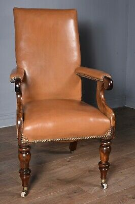 Antique Victorian leather Desk Library chair