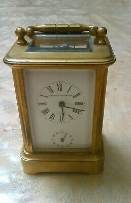 Vintage Antique Windle And Roberts Striking Alarm 8 Day Carriage Clock.