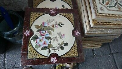 victorian tiles fireplace set of 6 good condition