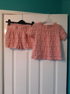 Girls NEXT Pink Lace Top And Shorts Set Outfit Age 10