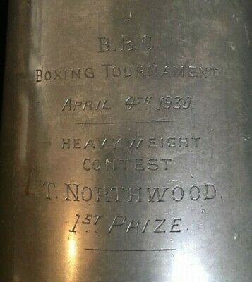 1930 vintage Heavyweight Boxing pewter tankard trophy, loving cup, trophies