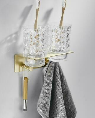 New Brushed Gold Brass Toothbrush Tumbler Cup Holder Wall Mounted Shelf For Bath