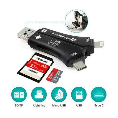 USB Card Reader 4 in 1 Flash Drive Micro SD SDHC TF iPhone Android PC MAC Black
