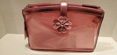 Kate Spade Sabine Pink Glitter Double Compartment Cosmetic Bag WLRU5812 NWT