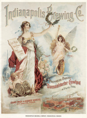 Beer Brewery Lithograph - Indianapolis Brewing Co - Vintage Poster 13x19