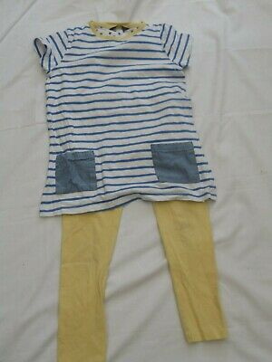 girlsyellow top and leggins set, 5-6yrs, used
