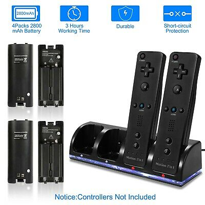 4x 2800mAh Battery + Charger Charging Dock Station For Wii Remote Controller