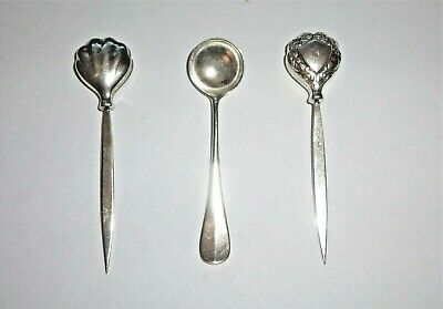 Antique Sterling Silver Salt Cellar Spoon & 2 Sterling Silver Fruit Picks