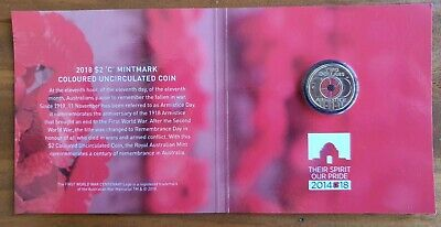 Australian $2 dollar 2018  Red Poppy coin Card.