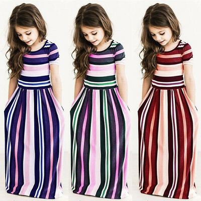 Children Baby Girl Party Summer Beachwear Striped Long Dress Outfit Casual Kids