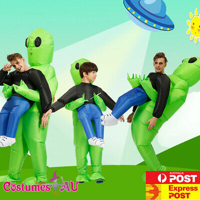 Adult Scary Halloween Green Alien Inflatable Costume Blow Up Suits Book Week