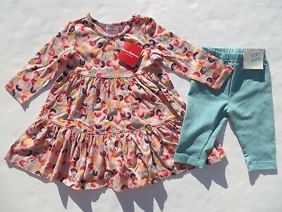 Hanna Andersson 90 Girls Outfit SET Dress Capri Leggings 3T NEW Cotton NWT Pink