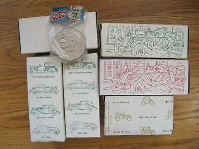 VTG 1933 Duesenburg Banthrico Cast Metal Car Coin Bank Of Lake County Cal. NIB