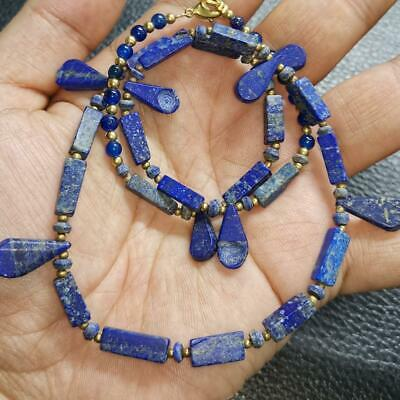 Lovely Necklace with ancient Roman Lapis stone spoon beads Necklace # 46