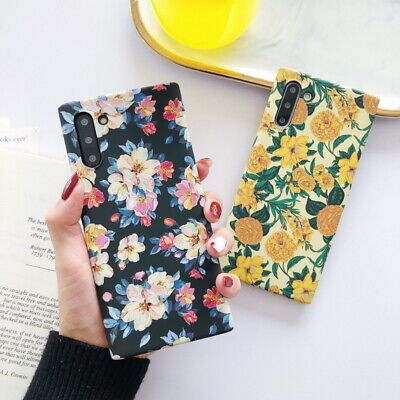 Glow Neon Matte Floral Relief Hard Case Cover For Samsung Note 10 Plus S10 S9 S8