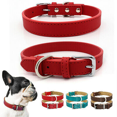 Pet Adjustable Buckle Strong Leather Dog Collar Cat Puppy Brown Pink Red Durable