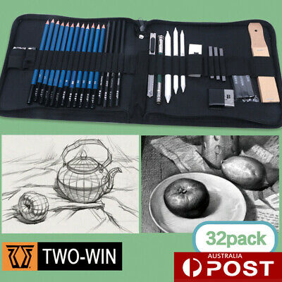 32pcs Professional Drawing Set Pencils and Sketch Charcoal Art Supply Artist Kit