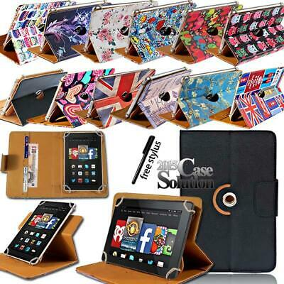 For Amazon Fire 7 HD 8 HD10 Tablet LEATHER 360 ROTATING STAND WALLET COVER CASE