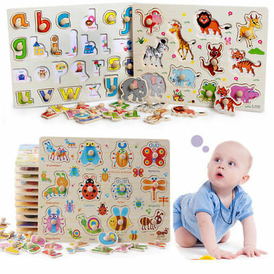 Wooden Animal Letter Puzzle Jigsaw Early Learning Baby Kids Educational Toy Gift
