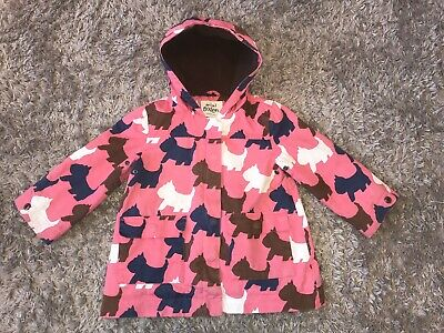 MINI BODEN Girls Age 2-3 Winter Coat Jacket Hooded pink Scotty Dog Terrier