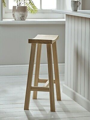 Pair Of Solid Oak Stool Bar Stools