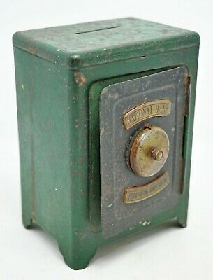Vintage Tin Small Coin Box Mini Safe Original Old Litho Printed