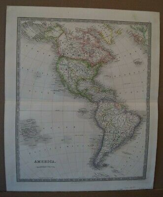 """1844 Teasdale Map """"America"""" North & South America - Texas Republic Clearly Shown"""