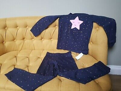 Girls Mothercare Pyjamas Gold Star Christmas Navy Age 6-7 long