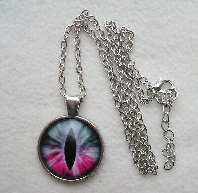 """PSQ1 - EYE PENDANT, Silver Plated Glass Domed PENDANT with 18"""" chain"""