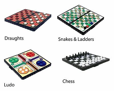 Pocket Mini Magnetic Travel Board Games Chess Draughts Ludo Snakes & Ladders