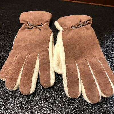 Aris ONE SIZE Suede Leather & Acrylic Gloves w/Bow Ladies STRETCH Gloves, Sz S-M
