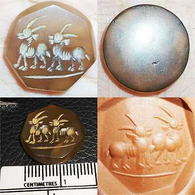 Old Wonderful Agate stone Antique stone stamp with 2 Animals  # 63