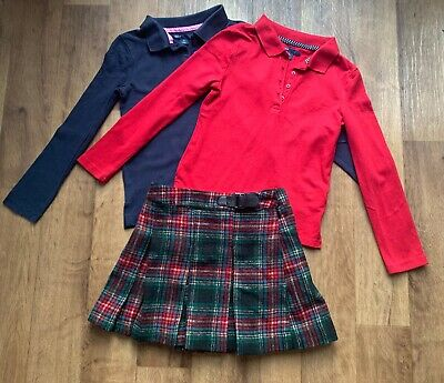 Next Girls Tartan Skirt And 2 Gap Tops Christmas Outfit Age 7
