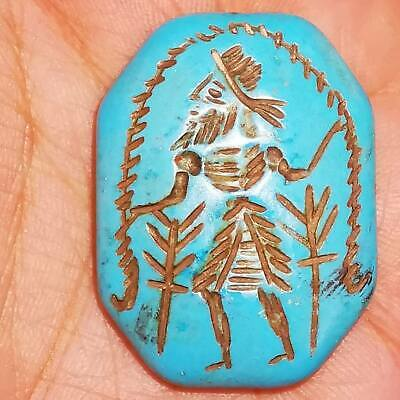 Antique Lovely Natural turquoise stone intaglio king seal stone BEAD  # 63
