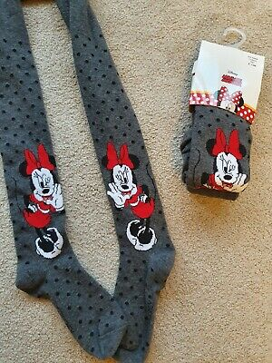 New Girls Kids Minnie Mouse Disney Thick Grey Winter Tights Age 4-10 Years