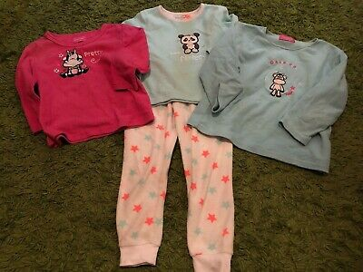 Girls PRIMARK blue fleece 3 pyjamas Tops 1 PJ bottom bundle nightwear 4-5 years