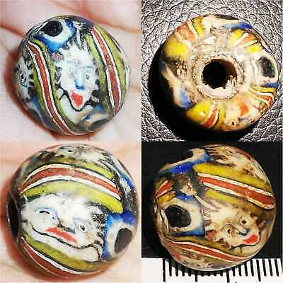 Antique Beautiful Unique Mosaic Glass bead With Faces    # 63