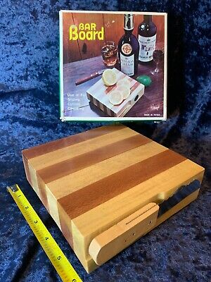 "Vintage 1960s Mini Butcher 6"" Chopping Block Legs Cheese Cutting Board & Knife"